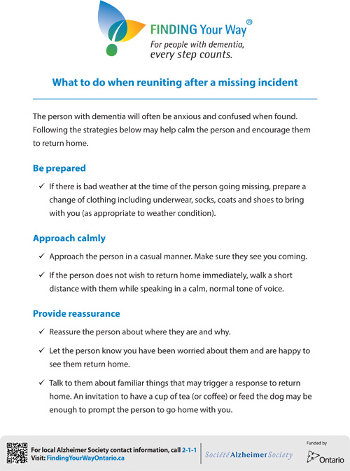 What to do when reuniting after a missing incident